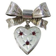 Pretty Vintage Hallmarked English Sterling Silver Bow & Heart Locket Brooch/Pin
