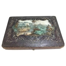 19th Century Shallow Leather-Bound Box with Printed Landscape Scene to Lid