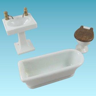 Vintage Doll House White Ceramic Bath Tub, Basin & Toilet, German Origin