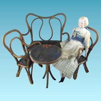 Vintage Doll's 4-Piece Wood & Wicker Sofa, Table & 2 Chairs