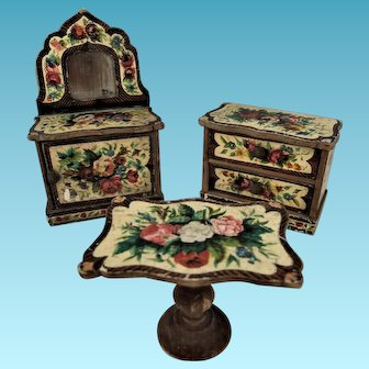 German Lithographed Paper-on-Wood Doll House Sideboard, Table & Chest of Drawers, c.1875