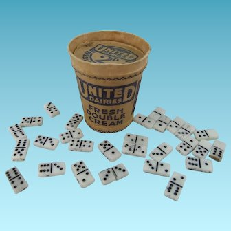 Miniature Domino Set Contained Within Tiny Vintage United Dairies Tub