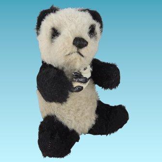 Cute 1930s English Panda Bear, 7 Inches, With Celluloid Panda Pin