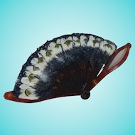 Adorable Feather Doll Fan with Faux Tortoiseshell Sticks & Handle