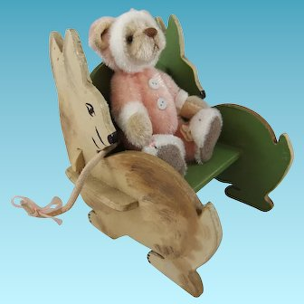 Delightful Miniature Painted Wood Doll Chair with Rabbit-Shaped Sides