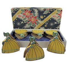 Six 1930s Painted Wooden Crinoline Lady Menu Holders, Boxed