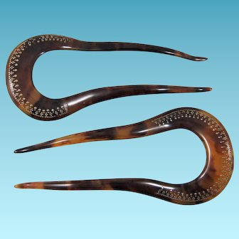 Pair Antique Faux Tortoiseshell & Pique Hair Combs