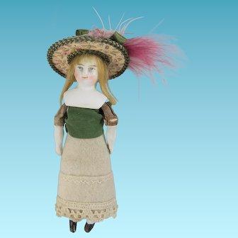 Pretty Antique Miniature Bisque Head Doll, 5 Inches