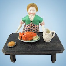 Lovely Miniature Bisque Doll House Doll & Kitchen Table Arrangement