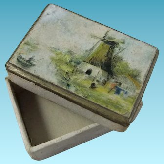 Tiny Antique Jeweller's Box, Ideal for Doll House, Less Than 1 ½ Inches Long