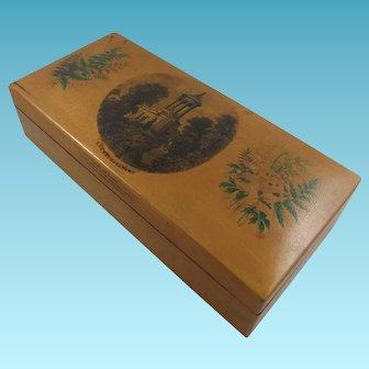 Interesting Antique Mauchline Transfer & Fernware Cotton Reel Box For 12 Reels