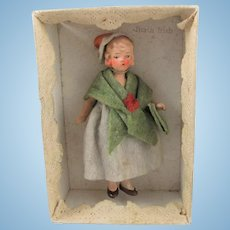 Miniature Painted Bisque Doll House Lady, In Original Box