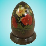 19th Century Mauchline-Style Thimble Box With Floral Transfer Decoration