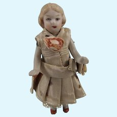 Adorable Antique Miniature Bisque Pin Jointed Doll House Doll, 3 Inches