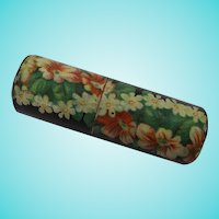 Pretty Mauchline Black Lacquer & Flowers Cylindrical Needle Case, 2 Inches