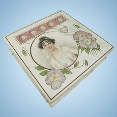 Beautiful Art Nouveau Fry's Pure Concetrated Cocoa Box, 4 Inches Square