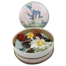 1920s Cadbury's Candy Box Filled With Vintage Vanity Items, Brooches Etc