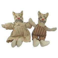 Pair Delightful Vintage Folk Art Cloth Cats, 9 Inches High