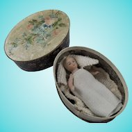 Antique German Miniature Pin-Jointed Bisque Baby In Old Rowntree Candy Box