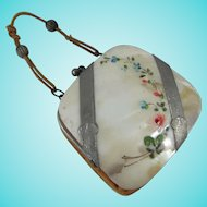 Exquisite Antique Mother of Pearl Doll Purse, 3 Inches