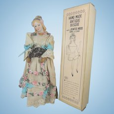 Dressed Shackman Bisque Head Doll with Wooden Body, 9 ½ Inches, in Original Box