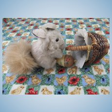 Vintage Miniature Fur Squirrel, 2 ½ Inches, with Wicker Basket & Wooden Acorn