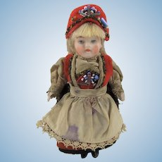 Adorable Antique All-Bisque German Mignonette Doll, 3.5 Inches