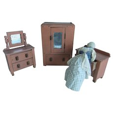 Painted Wooden Dolls' Wardrobe, Dressing Table & Chest of Drawers, Circa 1930s