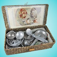 Cute Vintage Hamper Filled With Toy Cookware & Cutlery