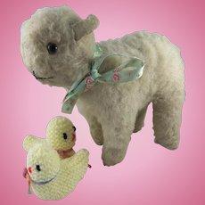 Cute Vintage Chiltern Lamb, Circa 1920s, Wool Plush & Glass Eyes