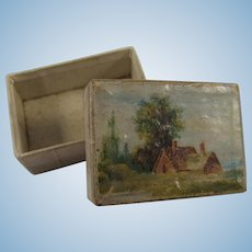 Tiny Antique Jewellery Box, Ideal for Doll House, Less Than 1 ½ Inches Long