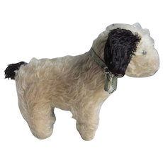 Adorable Mohair Vintage English Terrier Dog, Probably Chiltern, Circa 1920s, 9 Inches High