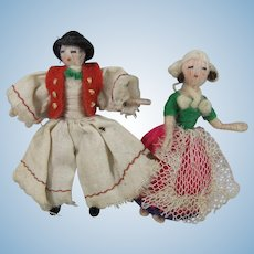Pair Rare & Tiny Stefania Lazarska Dolls In Traditional Dutch Costume, 1920s