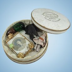 Small Round Antique German Candy Box With Tiny Treasures - Bisque Doll, Perfume Bottle Etc