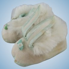Pair Vintage Bunny Slippers with Long Floppy Bunny Ears & Fur Trim
