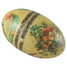 Lovely Rare Antique Wooden Egg Decorated With Transfer Prints, 7 Inches