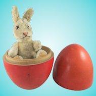 Vintage Mohair Steiff Niki Rabbit, 6 Inches, Inside Painted Wooden Egg
