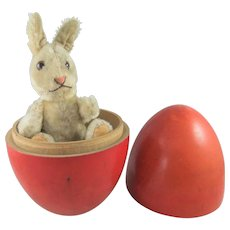 Vintage Mohair Steiff Niki Rabbit, 6 Inches, Inside Painted Wooden Egg