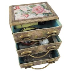 Small Vintage Chest of Drawers + Tiny 1909 Sterling Silver Hand Mirror & Other Doll Treasures