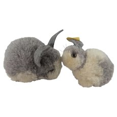 Two Adorable Steiff Woollen Miniature Rabbits, 1960s