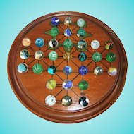 Antique Wooden 3-In-1 Solitaire/Fox & Geese/Siege Board with Glass Marbles