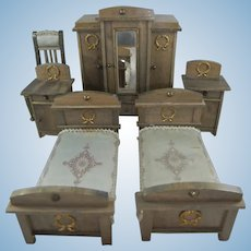 Exquisite Antique Wooden Doll House Bedroom Suite by Eppendorfer & Nacke