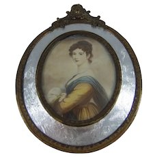 Edwardian Hand Painted Miniature of Georgian Lady in Oval Spelter Frame