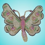 Beautiful Antique Hand Beaded Butterfly Applique