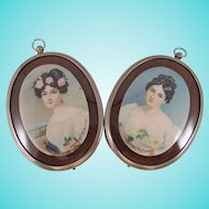 Pair Framed Vintage Oval Chromolithograph on Metal Portrait Miniatures