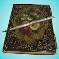 Fine 19th Century Papier Mache Aide Memoire/Notebook with Mordan Silver Pencil