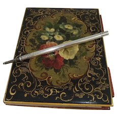 Fine 19th Century Papier Mache Aide Memoire/Notebook with Mordan Silver Pencil