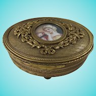 Exquisite Vintage French Gilt Bronze Jewellery or Trinket Casket
