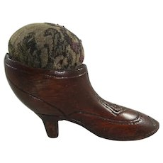 Antique Wooden Shoe Pin Cushion With Carved Details