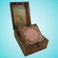 Charming Art Nouveau Pyrography/Poker Work Box & Pocket Watch Stand